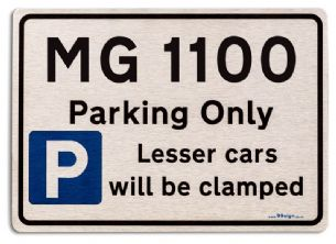 MG 1100 Car Owners Gift| New Parking only Sign | Metal face Brushed Aluminium MG 1100 Model